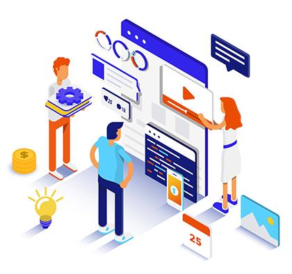 Digital marketing 3D flat vector image