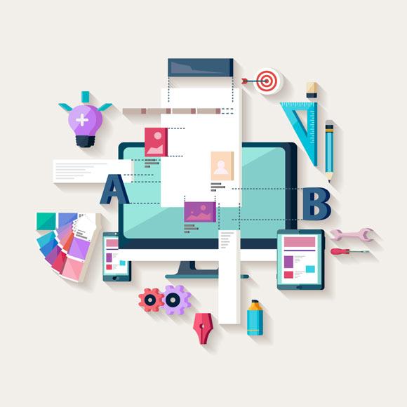 Web designing and development flat image