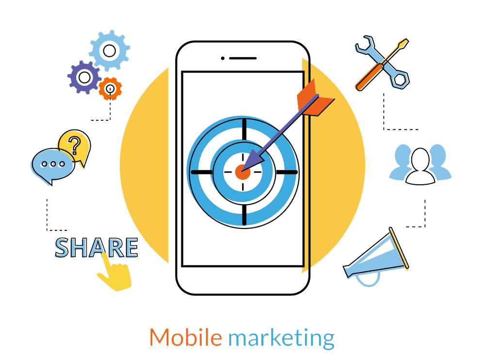 mobile marketing flat image png
