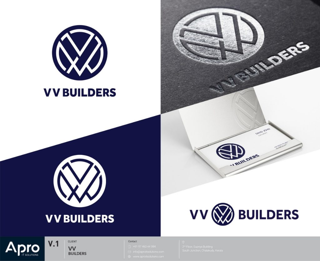 vv builders logo mockup